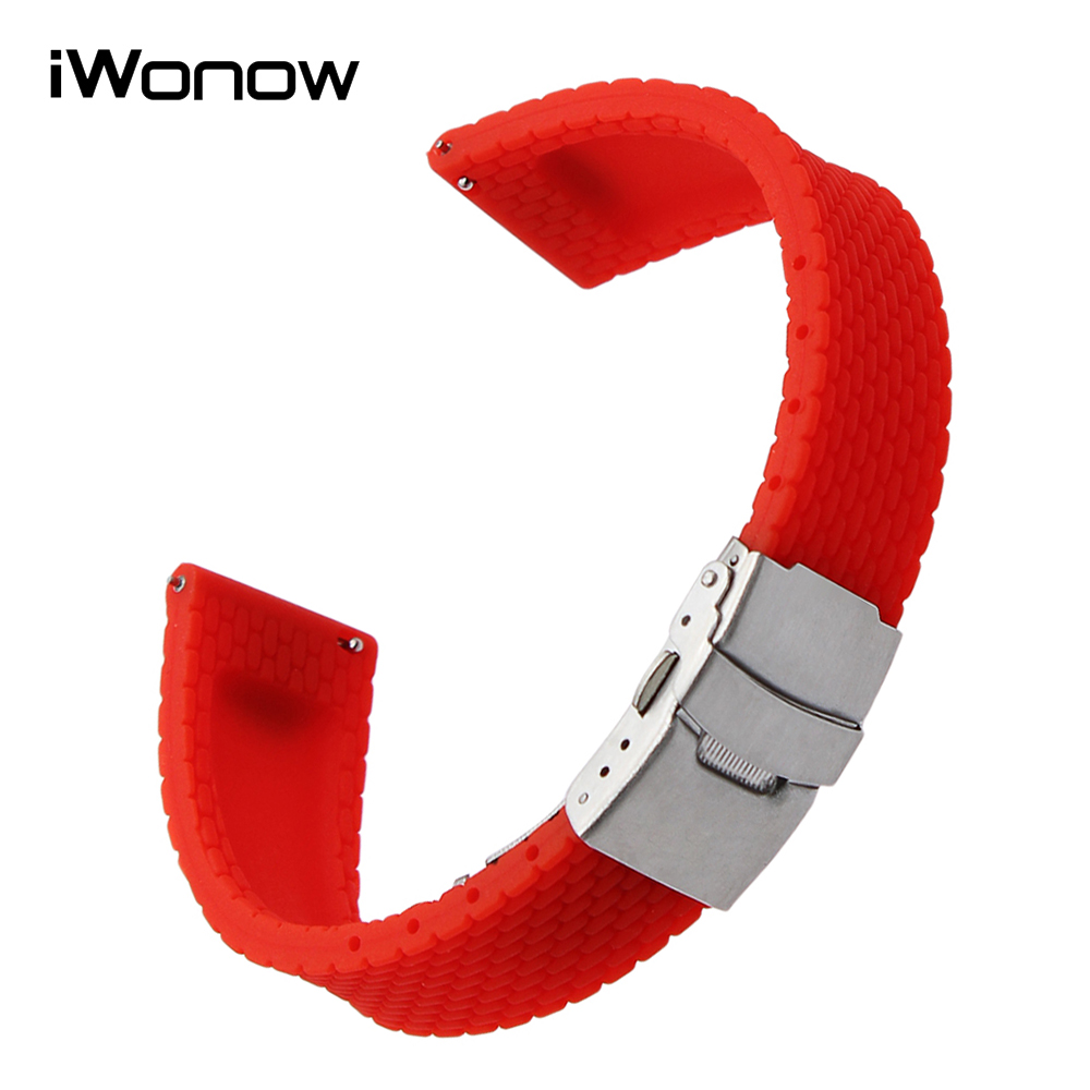 22mm Quick Release Silicone Rubber Watchband for LG G Watch Urbane W150 Asus ZenWatch 1 2