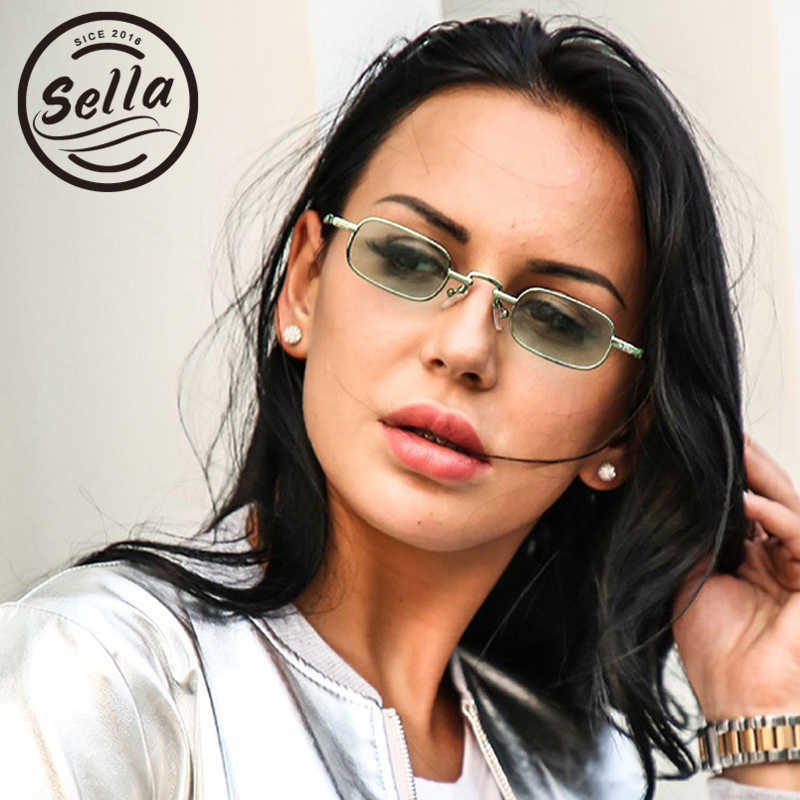 c1c54fe3240 Sella Fashion Women Men Small Frame Square Sunglasses Classic Vintage  Colorful Tint Clear Lens Alloy Frame