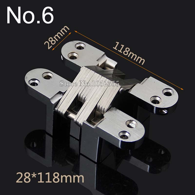 2PCS Invisible Concealed Cross Door Hinge 28x118mm Stainless Steel Hidden Hinge Bearing 50KG For Folding Door Background Wall