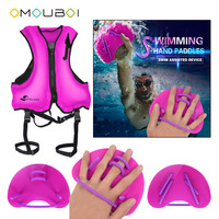 OMOUBOI Pink Adjusted Silicone String Swim Hand Paddles Train Web Fins With Inflatable Buoyancy Lifeguard Jacket For Water Safe