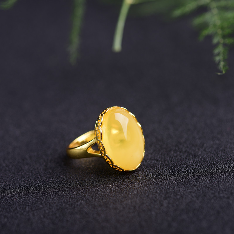 Курица масла желтый мед, воск кольцо цвета розового золота чистого серебра Полный Янтарный мед оригинальный камень 925 серебро женские беспл...