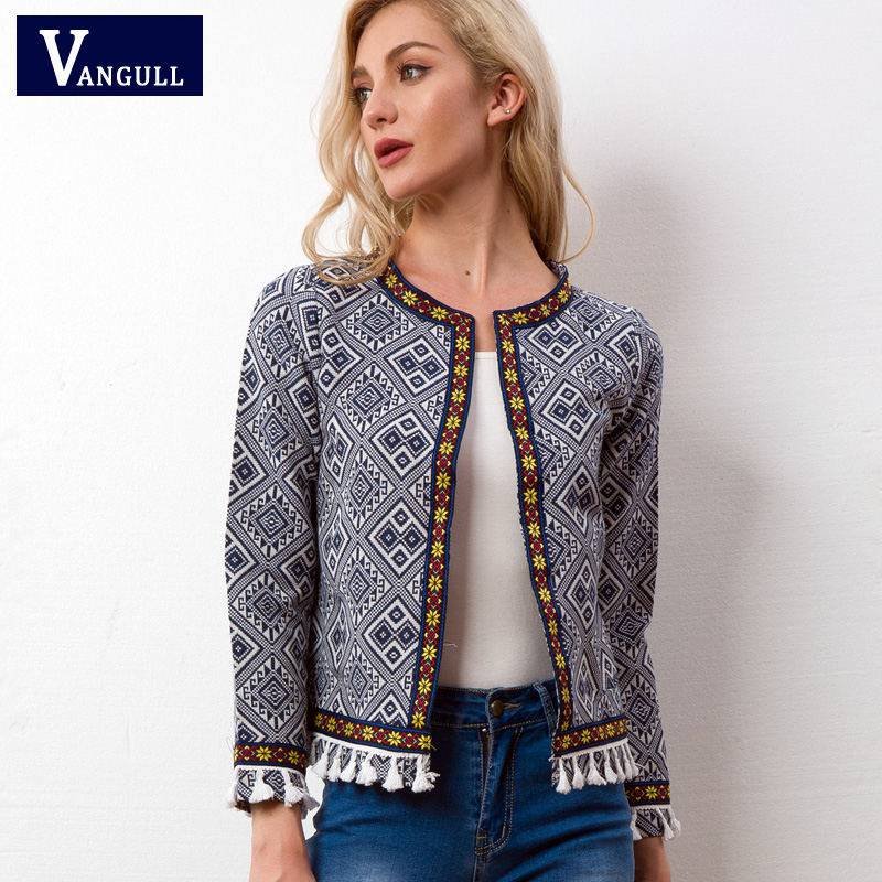 Vangull Tribal Embroidered Jacket Blue Vintage Fringe Tape Trim Women Autumn Coat 2018 Spring Long Sleeve Tassel Boho Jacket