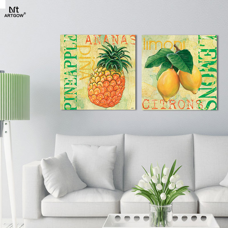 Modern 2pcs/set Pineapple Lemon Picture Decoration Letters Canvas Painting  Wall Art Fruit Print Living Room Home Decor Unframed In Painting U0026  Calligraphy ...