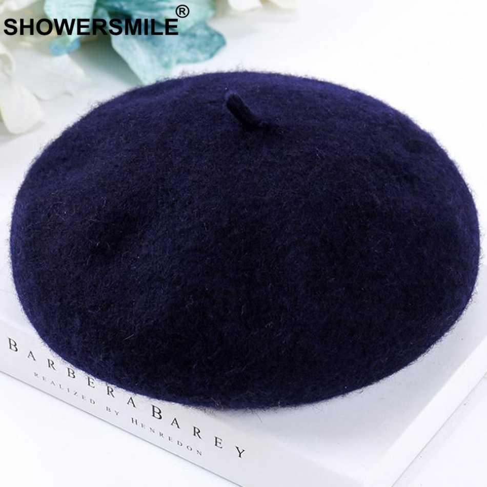SHOWERSMILE женские теплые береты желтые шерстяные французские береты шапки женские регулируемые мягкие шапочки художественные Элегантные зимние шапки