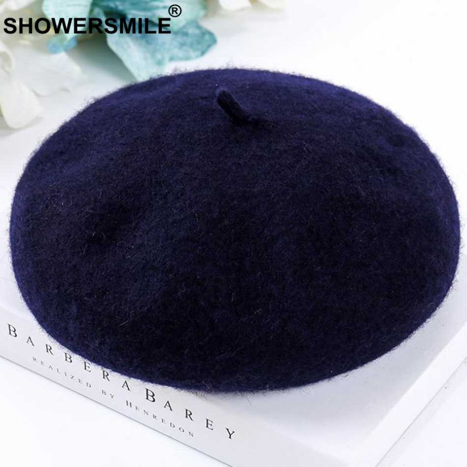 Showersmile Nữ Ấm Áp Mũ Nồi Vàng Len Pháp Mũ Nồi Nón Nữ Có Thể Điều Chỉnh Nón Mềm Nghệ Thuật Thanh Lịch Mùa Đông Họa Sĩ Nón