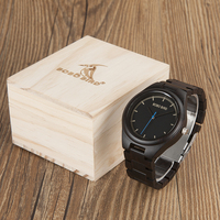 BOBO BIRD Fashion Brand Watches Men Handmade Natural Black Wood Wrist Watch With Wood Gifts Box