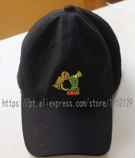 55a1e36e598 Kermit None of my Business Strapback Dad Hat Black Frog Sipping Tea LeBron  James