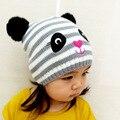 Outono e inverno novas crianças dos desenhos animados chapéu tarja bordado gato chapéu feito malha