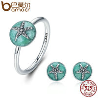 BAMOER Authentic 925 Sterling Silver Dazzling Starfish Finger Ring Earrings Jewelry Sets Luxury Sterling Silver Jewelry