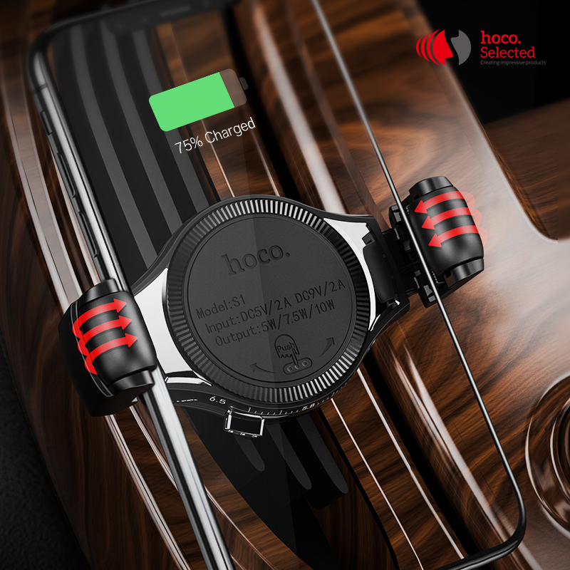 HOCO Car Qi Wireless Charger 10W Fast Charging Stand for iPhone X XS XR Samsung S9 Car Roller Mount Mobile Phone Air Vent Holder