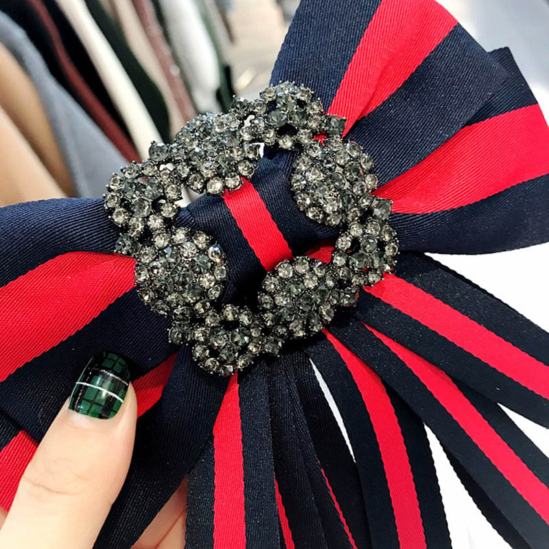 Lady Stripe Bowknot Fashion Cheap Statement Animal Bee Bow Scarf Brooches Pins Trendy Bohemian Cloth Clip Women Tie Bow Brooches