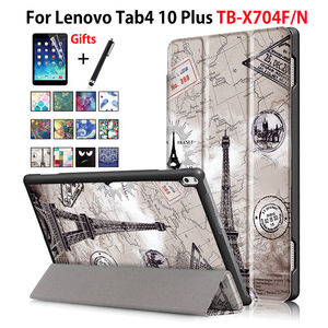 Чехол для Lenovo TAB4 Tab 4 10 Plus TB-X704L TB-X704N смарт-чехол для планшета спящий режим PU складной чехол-подставка + пленка + ручка