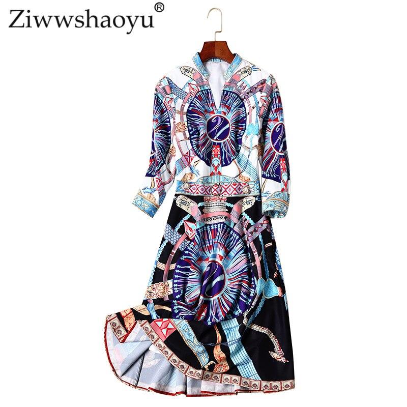 Multi Office Tempérament Moyen Et Longue Lady V Automne Diamants Ziwwshaoyu 2018 Section Noble Robe Nouveau Impression cou 2eYIWE9DH