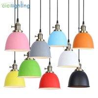 Modern Metal colorful lampshade led pendant light Loft Pendant Lamp Retro Hanging Lamp grey blue yellow pink orange luminaire