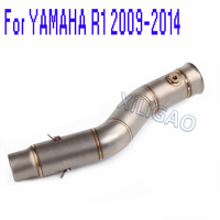 YZF R1 Side Mid Connect Tube Pipe Exhaust 51MM Inlet Muffler For Yamaha R1 2009 2010 2011 2012 2013 2014 Year YA010