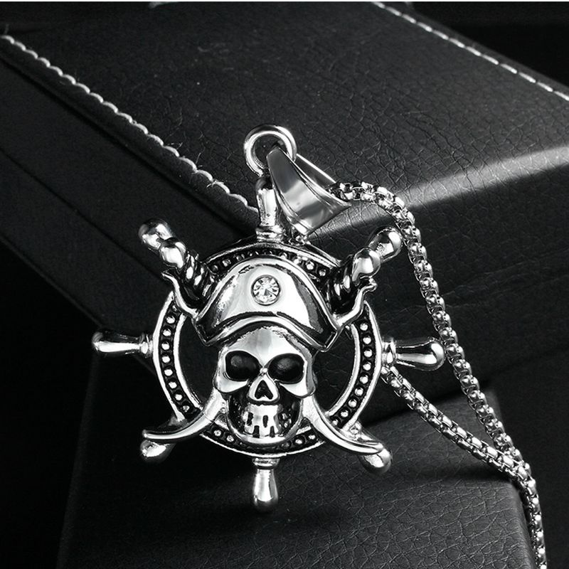 Necklace Pirates of the Caribbean Titanium Skull Skeleton Ship Rudder Pendant Stainless Steel Necklace For Men, Item NO.: LP1565