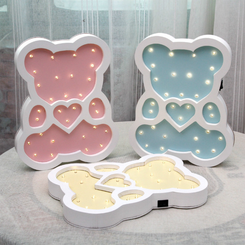 Cute Bear Modeling light Hand--made wood lamp LED Night Light Home Decoration Festival wall decor lighting IY304123-38 ...