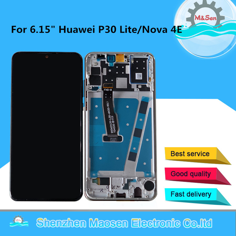 """Original M&Sen 6.15"""" For Huawei P30 Lite LCD Display Screen With Frame+Touch Panel Digitizer For Huawei Nova 4E Display Frame"""