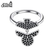 Effie Queen Cute Flower Dangle Rings For Women Black Stone AAA Zircon Silver Color Finger Ring Poker Club Unique Jewelry DR200
