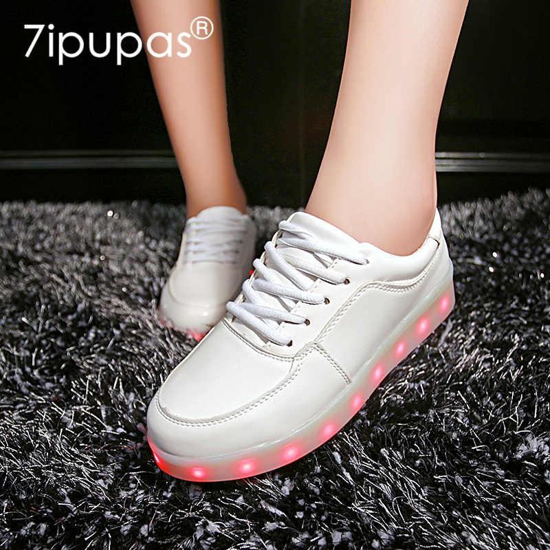 7 ipupas 25-44 รองเท้าส่องสว่างเด็ก led รองเท้า do ไฟ 2018 lighted รองเท้าเด็กผู้หญิง tenis จำลอง Led เรืองแสงรองเท้าผ้าใบ