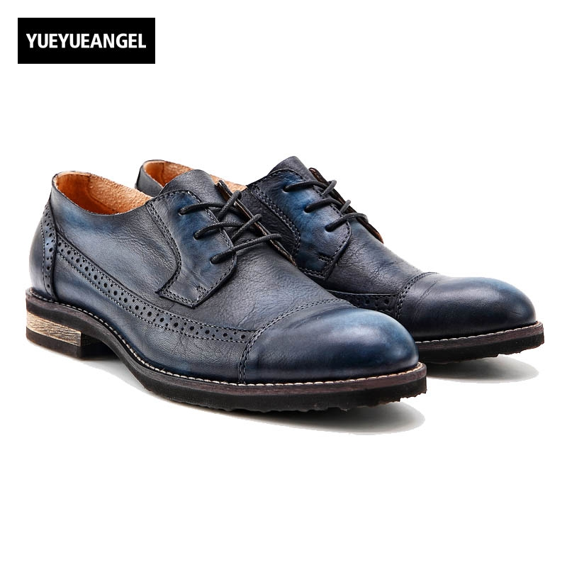 England Style Sewing Leather Stitching Carved Retro Wing Tip Lace Up Fashion Mens Casual Shoes Genuine Leather Cow Brogue Shoes