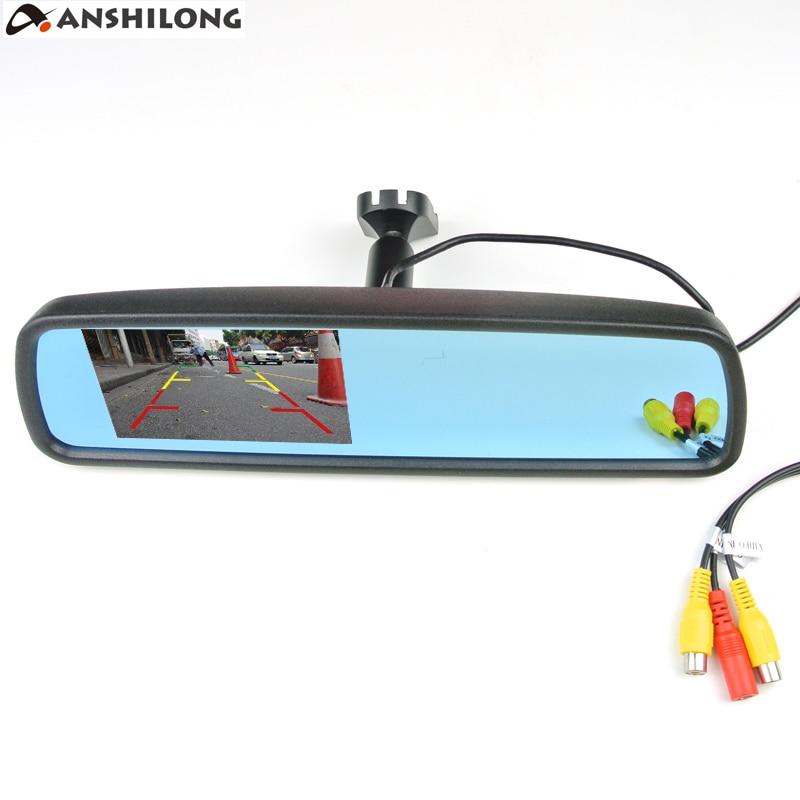 Anshilong 4.3 дюймов TFT ЖК-дисплей зеркало заднего вида Мониторы со специальным кронштейном 2ch видео Вход + Кнопка меню