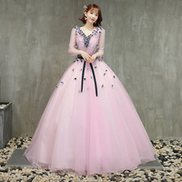 Three Quarter Length Sleeves Pink Quinceanera Dresses Black Flowers Princess Ball Gowns Prom Dresses Vestido 15 Quinceanera