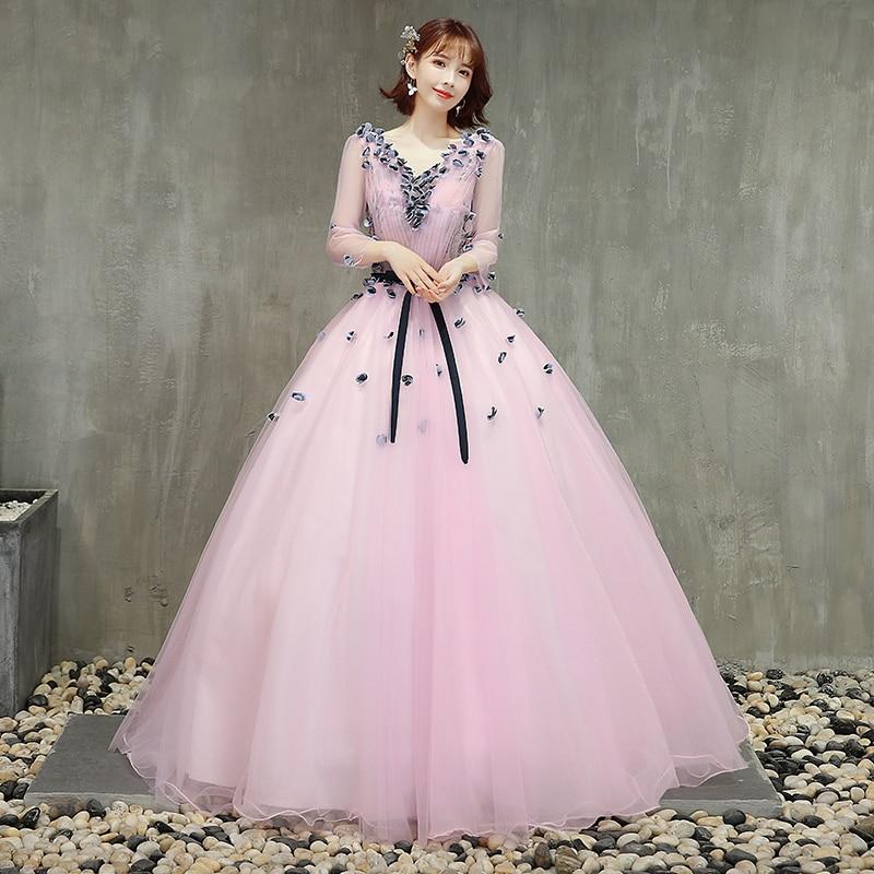 Trois quarts de longueur manches rose Quinceanera robes fleurs noires princesse robes de bal robes de bal Vestido 15 Quinceanera