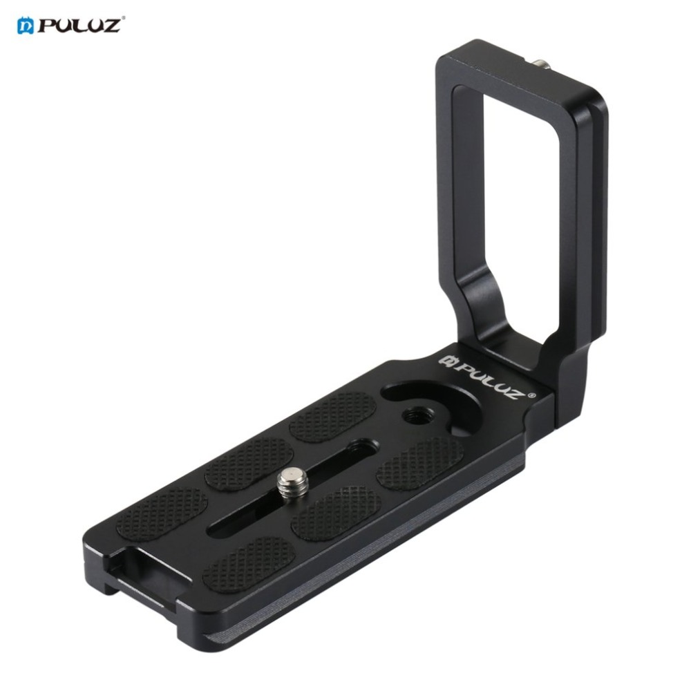 PULUZ Universal 1/4 inch Vertical Shoot Quick Release L Plate Bracket Base Holder Aluminum Alloy With Anti-slip Rubber Mat