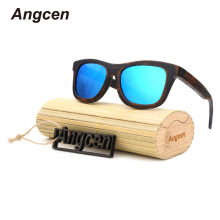 Angcen 2017 New fashion Products Men Women Glass Bamboo Sunglasses au Retro Vintage Wood Lens Wooden Frame Handmade AE03