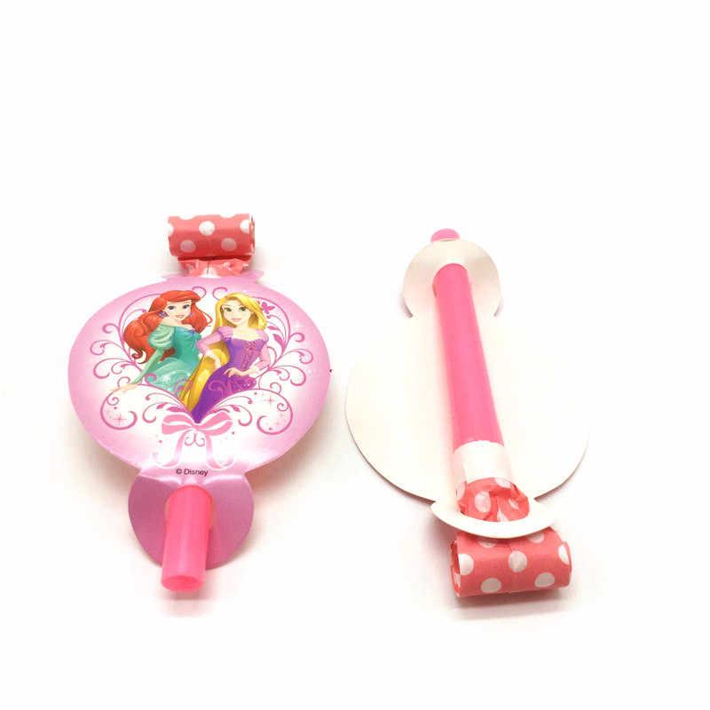 6Pcs Disney Seis Princesa Aurora Tema Blowout Apito Brinquedo Chá de Bebê Dos Desenhos Animados da Festa de Aniversário Da Menina Decorar Fornecimento de Sopro do Dragão
