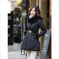 Plaid Women Winter Parka Coat Female With Belt Hooded Cotton Jackets And Coats Women Jaqueta Feminine A2608
