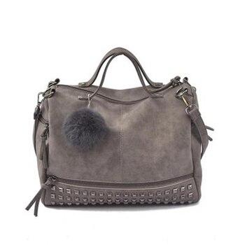 Vintage Nubuck Leather Female Top-handle Bags Rivet Larger Women Bags Hair Ball Shoulder Bag