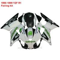 Motorcycle Fairing kit For YAMAHA YZF R1 98 99 ( White & Green ) yzfr1 1998 * 1999 Fairings free custom ll61