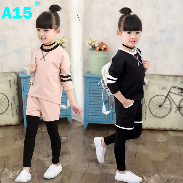 A15 2pc Spring Autumn Children Clothing Set Kids Girls Clothes 2017 Girls Sports Suit Coat Legging Casual Costume Size 8 10 Year