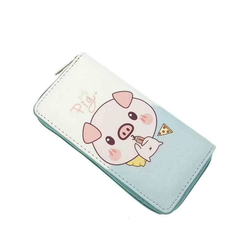 KANDRA lindo Kawaii oso cerdo nueva cartera de mujer Cartera de embrague Rosa monedero moneda Zip alrededor de tarjetas de regalo para Grils