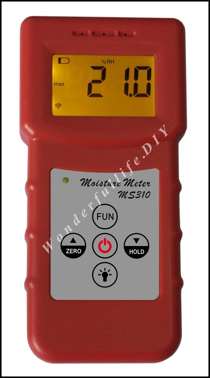 MS310 Inductive moisture meter measuring moisture content of wood,paper,Bamboo, concrete,metope,and other material fiber materials wooden articles tobacco cotton paper building soil and other fibre materials digital wood moisture meter mc7806