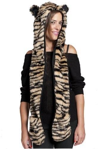 Женский/мужской зимний капюшон из искусственного меха, ушанки для животных, ручные карманы, 3в1, капюшон, шапка, волчий шарф с животными, перчатки, отправка в ближайшее время - Цвет: 9