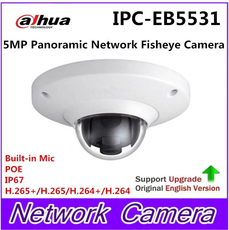 Dahua IPC-EB5531 5MP WDR Panorama 180 Degree built-in MIC with SD card slot POE Network Fisheye IP Camera replace IPC-EB5500