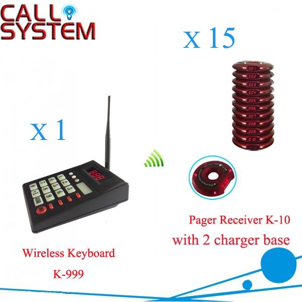 Fila de sistema de chamada sem fio fino pager convidado (1 teclado 15 patrono pager)