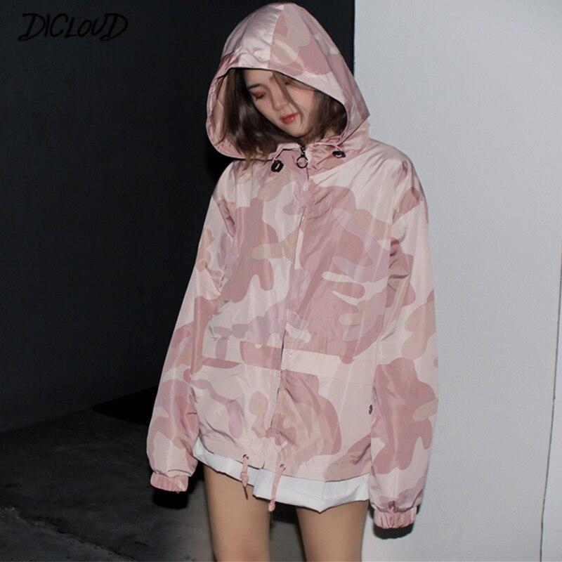 d71af7d2a DICLOUD Camouflage Jackets Women Korean Hoodie Coats Autumn Long Sleeve  Oversized Jackets Female Vintage Short Windbreak Tops