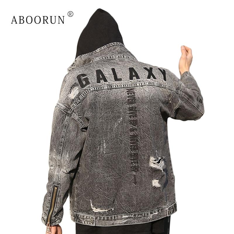 Dropshippig rétro Galaxy broderie Denim vestes hommes déchiré trou Jeans vestes Hip Hop Streetwear manteau pour homme x552