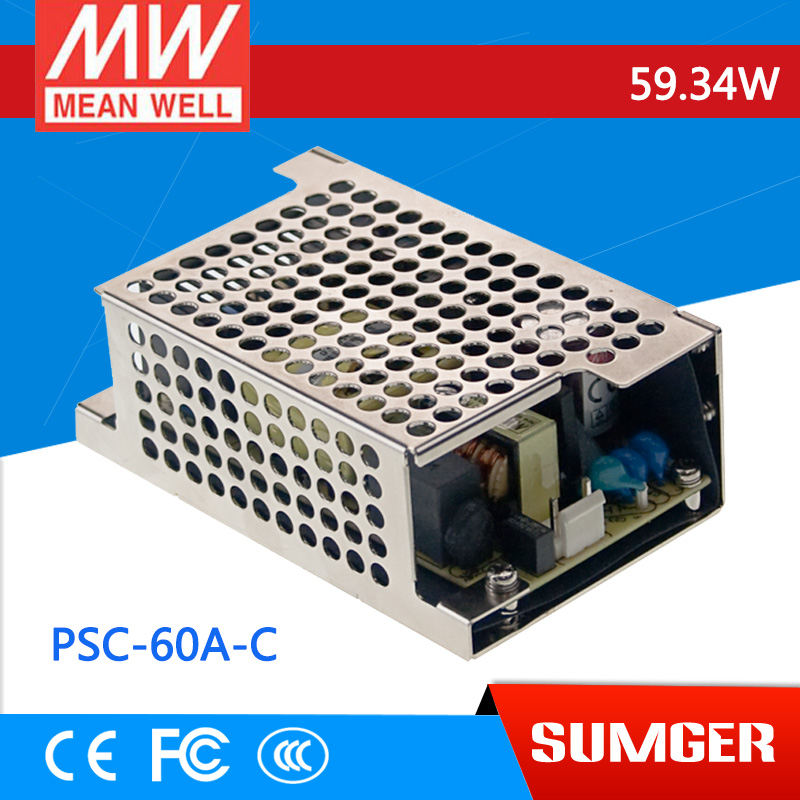 ФОТО [Freeshiping 2Pcs] MEAN WELL original PSC-60A-C 13.8V meanwell PSC-60 59.34W  with Battery Charger(UPS Function) Enclosed