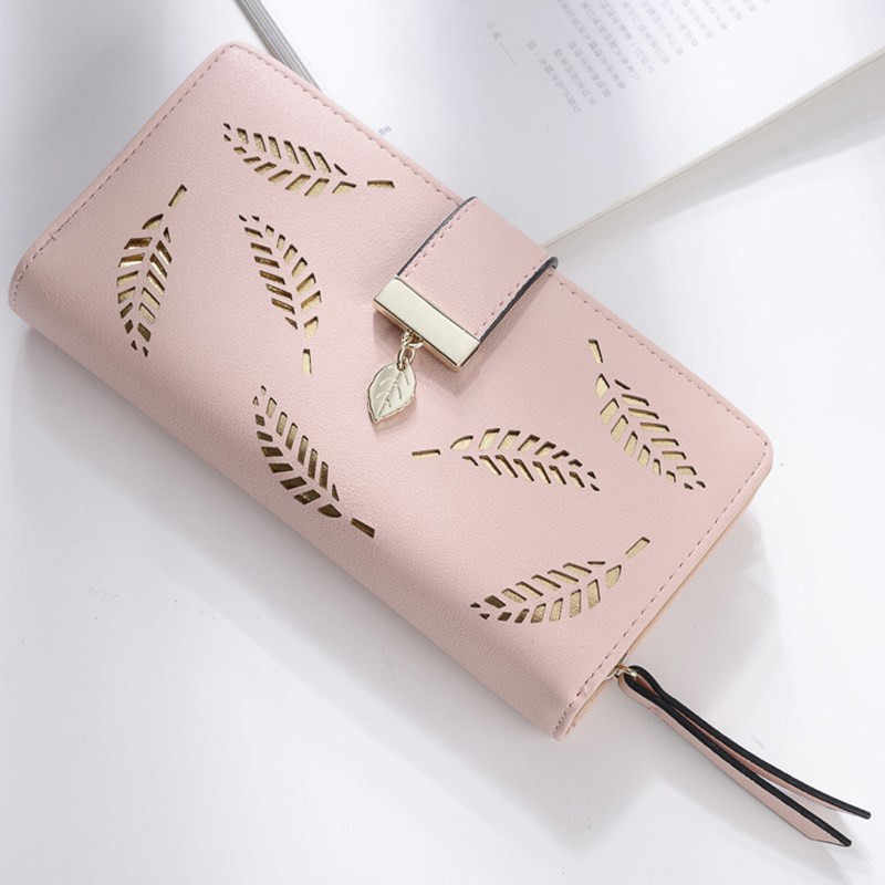 New Leaves Design Women Wallet Case For iPhone 7 8 6s 5 5s SE Leather Wallet Phone Bag For 3.5-4.7 inch Mobile Phone Card Holder