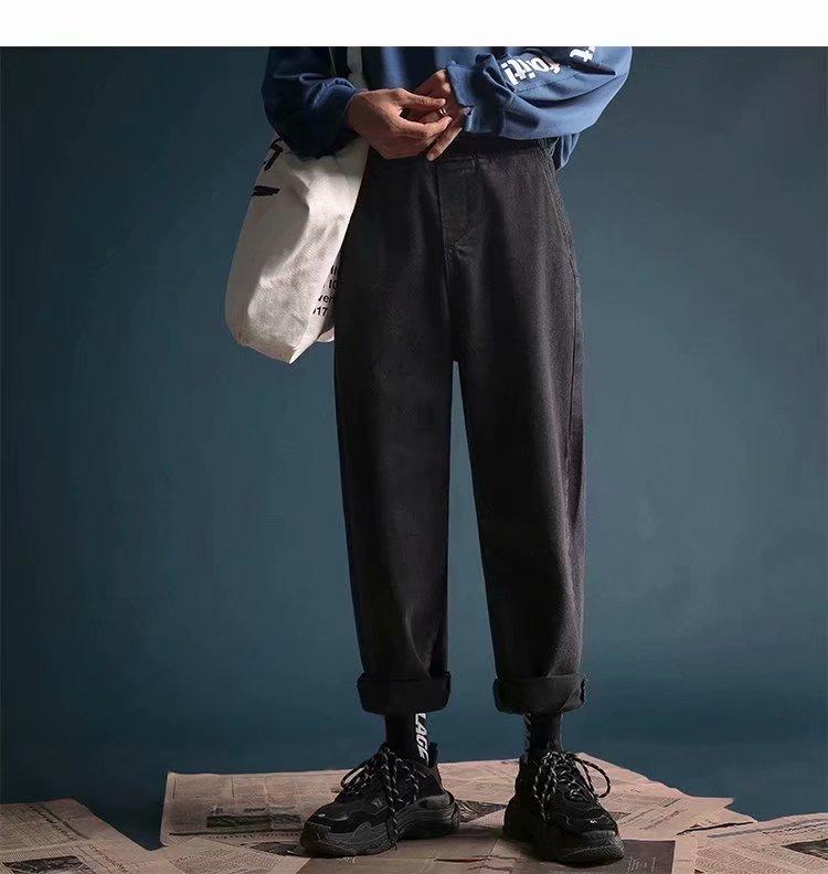 Fashion Men's Pants Elastic Men Cool Loose Joggers Skinny Jeans Trousers Men Belt Men Streetwear