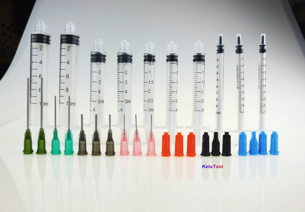 10 Pack - Syringe with Blunt Tip Needle and Caps, Great for Refilling E-juice, E-Liquids, E-cigs, Vape, Oil or Glue Applicator