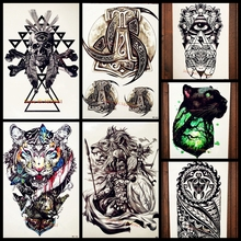 3D DIY Dog Bone Waterproof Black Henna Tattoo Stickers Fake Flash Large Body Art ARm Tattoo Totem Sticker Men Women Tatoo Legs