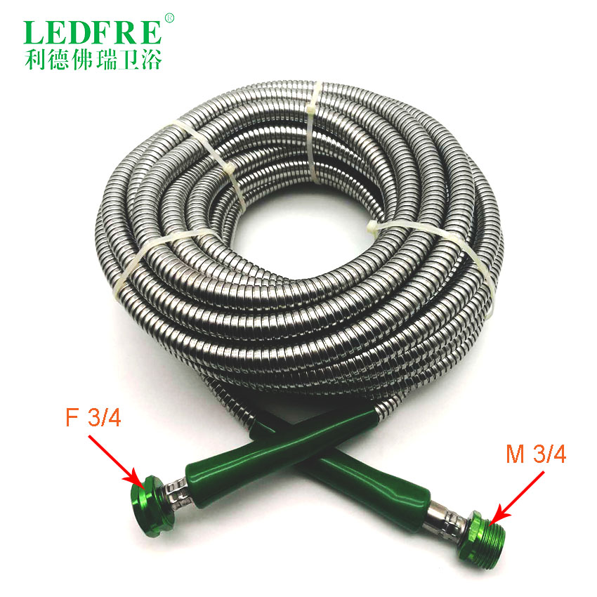 LF14007-15M F3/4*M3/4 15M Garden Hose Double Lock Chrome Plating Stainless Steel Shower Flexible Hose Plumbing Hose