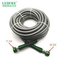 LF14007 15M F3/4 * M3/4 15 м Садовый шланг с двойным замком хромирование Нержавеющаясталь гибкий шланг для душа водопроводный шланг