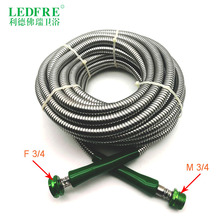 LF14007-15M F3/4*M3/4  15M Garden hose double lock Chrome Plating Stainless Steel Shower flexible plumbing